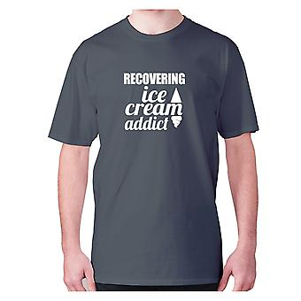 Mens funny t-shirt slogan tee novelty humour hilarious -  Recovering ice cream addict