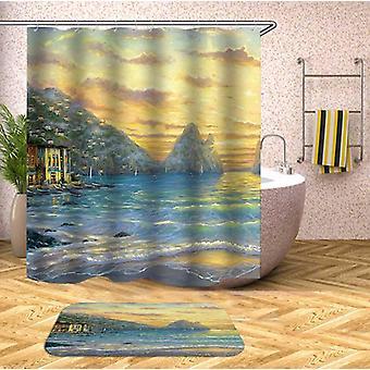 Kunst maleri kystnære bade gardin