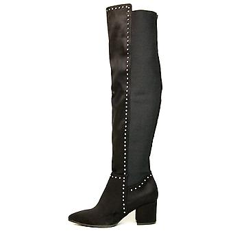 Seven Dials Womens Nicki Fabric Pointed Toe Over Knee Fashion Boots
