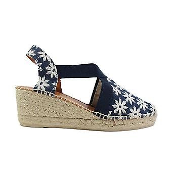Toni Pons Terra-GR Denim Blue Floral Fabric Womens Wedge Pull On Espadrille Shoes
