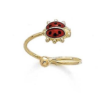 14k Yellow Gold Enamel Ladybug Ball Toe Ring Jewelry Gifts for Women - .9 Grams