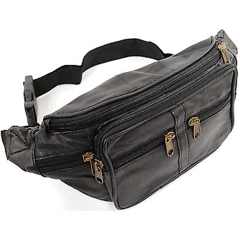 Unisex Leather Bum Bag / Waist Bag / Money Belt with Multiple Pockets