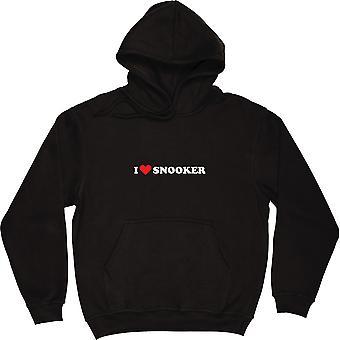 Ik hou van snooker zwarte hooded top