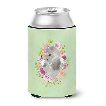 Grey Standard Poodle Green Flowers Can or Bottle Hugger