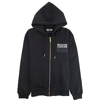 Versace Jeans Couture Logo Zip Up Hoodie Noir