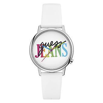 Gissa Watch V1022M1-vit läder logo gissa flerfärgad män/Women ' s Watch
