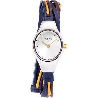 Opex OPW019 Watch - FILANTE Blue Leather Bracelet Bo tier Steel Silver Women