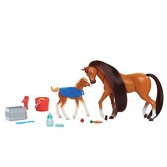 Dreamworks Spirit Riding Free Feed and Nuzzle Mother and Foal Set 10PCs