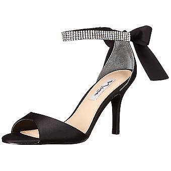 Nina Womens Vinnie Satin Open Toe Ankle Strap Classic Pumps