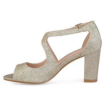 Brinley Co Womens Ayvie Glitter INTERSECTING Straps Block Heel Open Toe Heels