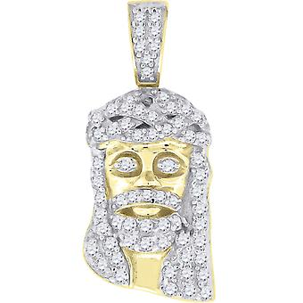 925 Sterling Silver Mens CZ Cubic Zirconia Simulated Diamond Jesus Religious Pendant Necklace Charm Measures 23x10.3mm W
