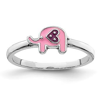925 Sterling Silver Rhodium plated for boys or girls Enameled Pink Elephant Ring - Ring Size: 3 to 4