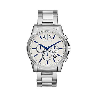 Armani Exchange Mens Round White/Blue Multi Date Dial Stainless Steel Bracelet Watch