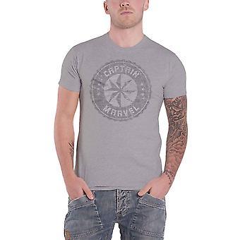 كابتن الأعجوبة تي قميص بالأسى دائرة شعار الرسمية الأعجوبة كاريكاتير الرجال رمادي