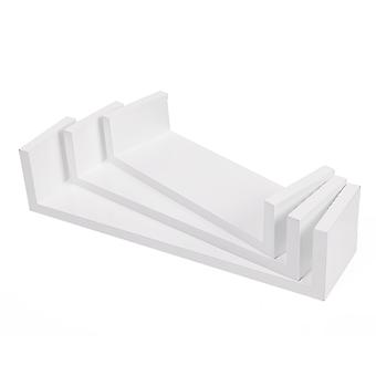 Wall shelves with raised edges-set of 3-30/35/40 cm