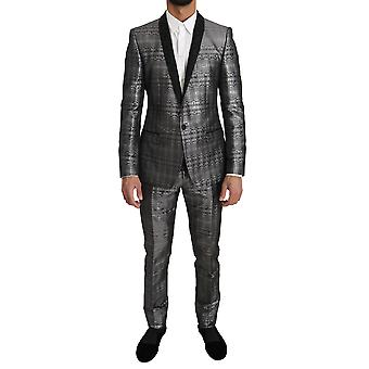 Dolce & Gabbana Silver Gray Shiny Gold 2 Piece Slim Suit