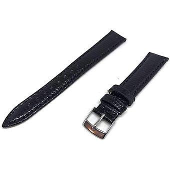 Genuine italian lizard watch strap black size 14mm to 20mm