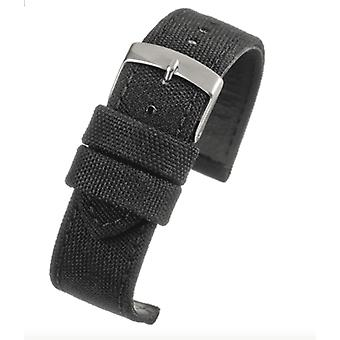 Black fabric watch strap size 18mm to 24mm
