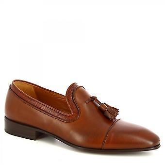 Leonardo Schuhe Men's handgemachte Quasten Loafers Schuhe aus braunem Kalbsleder
