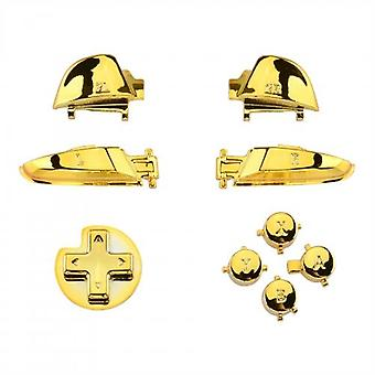 Button set for nintendo switch pro controller replacement a b x y, d-pad, l r zr zl triggers - chrome gold | zedlabz