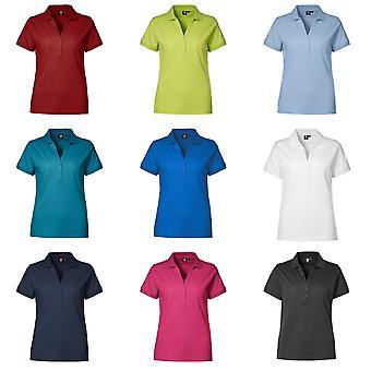 ID das mulheres/senhoras V-Placket equipado de camisa de manga curta Pique Polo