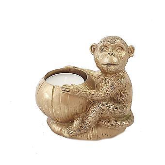 Porta-velas de macaco de cor dourada 2 pacote