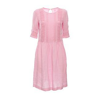 120% N0w47540000115000n085 Women's Pink Linen Dress