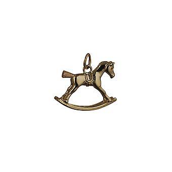 9ct ouro 18x23mm cavalo de balanço pendente ou charme