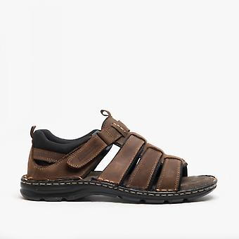 Roamers Eugene Mens Cuir Open Toe Caged Sandals Brown