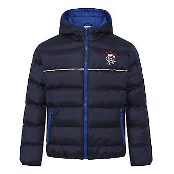 Rangers FC Official Football Gift Boys Quilted Hooded Winter Jacket