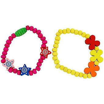 The Olivia Collection Children Pack Of 2 Yellow & Hot Pink Wood Bead Bracelets