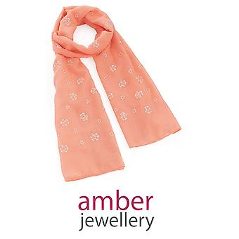 Amber Jewellery Peach Embroidered Rose Motif Scarf (SC32313)