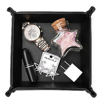 Faltbare Aufbewahrungsbox PU Leder schwarz 24x24 cm