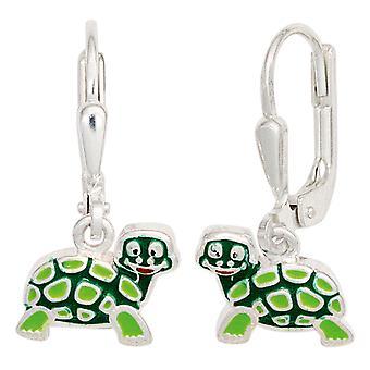 Kinder Boutons Schildkröte grün 925 Silber Ohrringe Ohrhänger Kinderohrringe