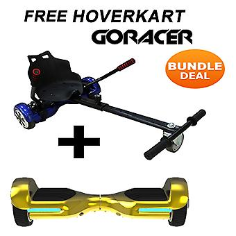 Black GoRacer Hoverkart with 6.5 G PRO Gold Chrome 5.0 Bluetooth Hoverboard Segboard , Segway