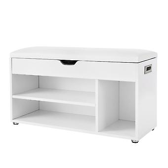 Luxury shoe cabinet with upholstered seat-80 cm