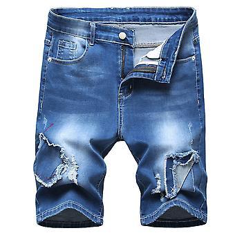 Allthemen Muži & apos, s spliced Mid-Waist Multi Pocket Džínové krátké kalhoty