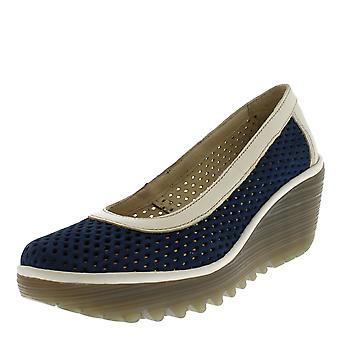 Womens Fly London Yobe Slip On Leather Office Perforated Wedge Heel Shoes