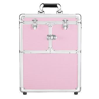 Pink Rolling Makeup Trolley lockable aluminium makeup sag med hjul, spejl og store optrækkelige bakker