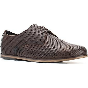 Basis Londen Mens Senna Reliëf Lace Up Schoen Brown