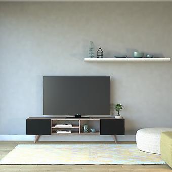 Mobiler TV-Anschluss Dore Color Walnut, Schwarz in Melaminischer Chip 160x29.7x40.6 cm