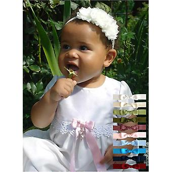 Christening Gown Grace-princess With Short Sleeve Free Choice Of Bow Grace Of Sweden