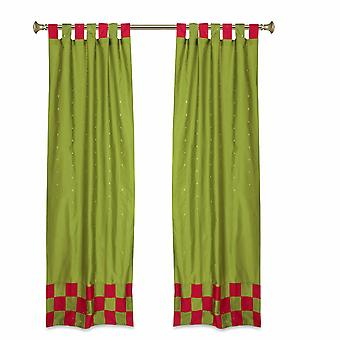 2 Eclectic Olive Green Indian Check Sari Curtains Tab Top drapes