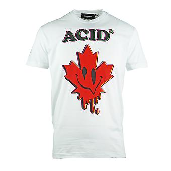 Dsquared2 Cool Fit Acid Maple Leaf White T-Shirt