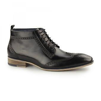 Paolo Vandini Padstow Mens Leather Wingtip Derby Boots Black