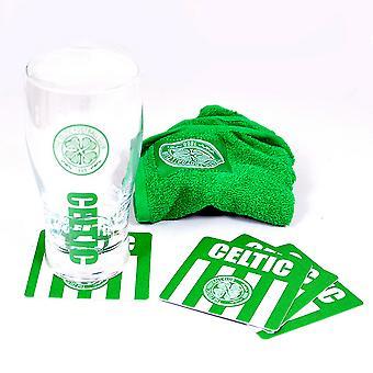 Celtic FC Official Wordmark Mini Football Bar Set (Pint Glass, Towel & Beer Mats)