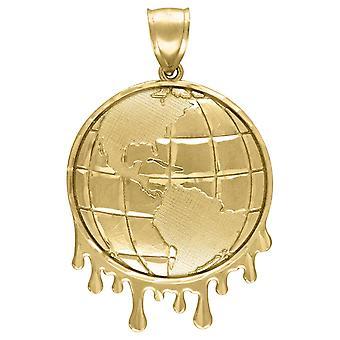 10k Sárga Arany Férfi Csillogás Cut Csöpögő Globe Charm Medál Nyaklánc intézkedések 51.1x32.20mm Széles Ékszer Ajándékok férfiaknak