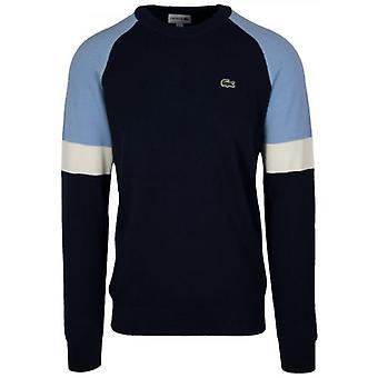 Lacoste Navy Round Neck Pique Sweatshirt