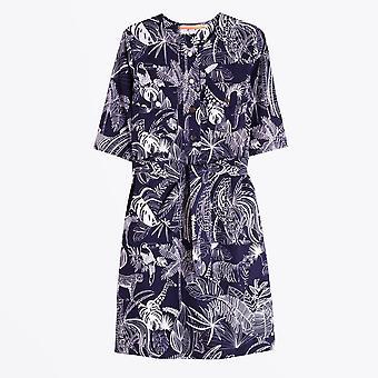 Vilagallo  - Sabine Animal Print Dress - Navy/White