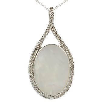 ADEN 925 Sterling Argent Blanc Nacre Forme Ovale Pendentif Collier (id 3344)